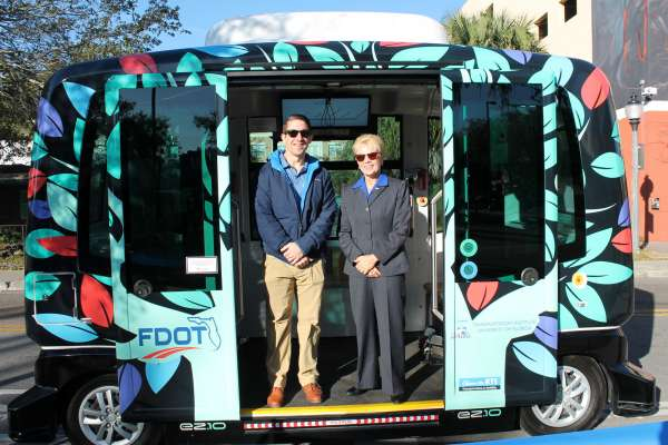 Drs. Classen and Mason attend Autonomous Shuttle launch in Gainesville